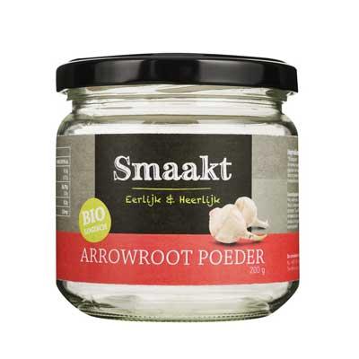 Arrowroot is geschikt als bindmiddel. Het is gemaakt van het zetmeel van de wortel van de pijlwortelplant.