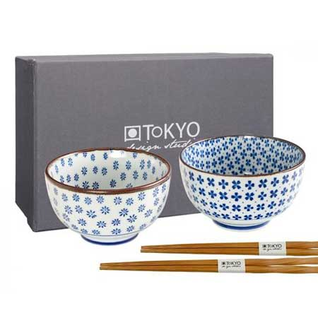 Tokyo Design Studio 7448 Kommenset Rond Blauw, Wit 2stuk(s) eetschaal 1