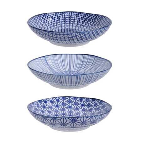 Tokyo Design Studio Nippon Blue Set van 3 Pastaborden Ø 21 cm